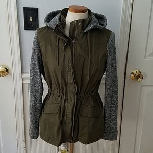 Love Tree Utility Jacket with Sweater Hood and Sle